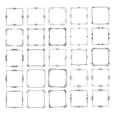 eine große Reihe von Frames in verschiedenen Formen. Vektor Vintage Rahmen Set