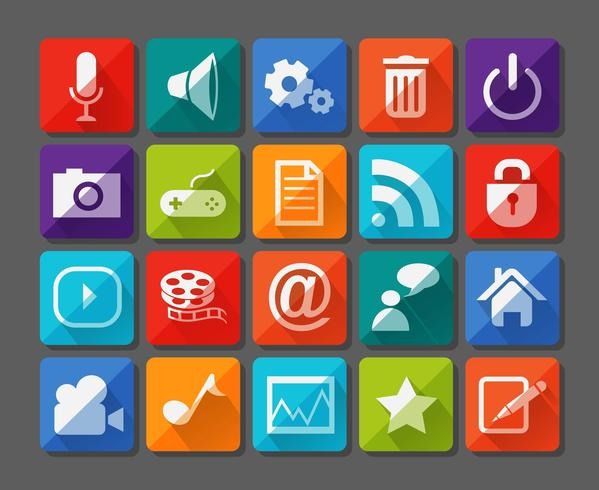 Novos ícones de aplicativos definidos no apartamento vetor