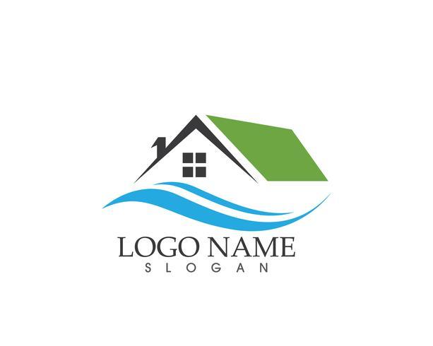 Immobiliare e costruzione casa logo vettoriale