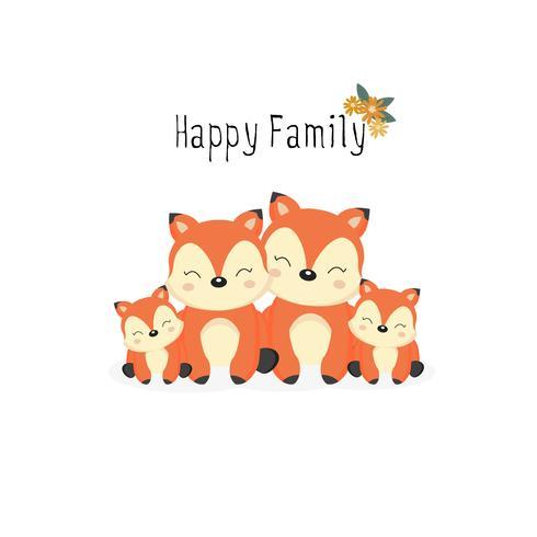 Famiglia di animali felice. Papà, mamma, baby foxes cartoon.