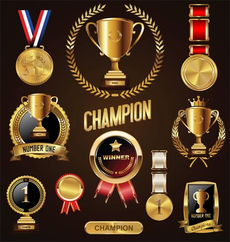 Colección de distintivos y etiquetas de trofeos y premios. vector