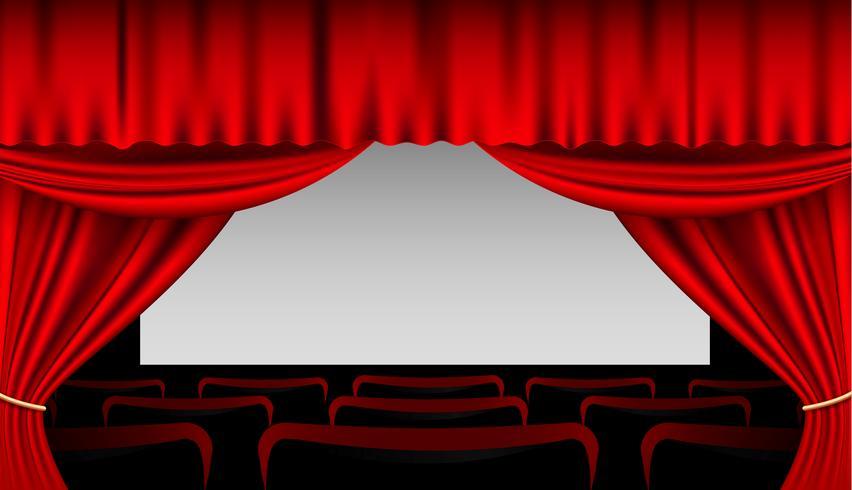 Escenario interior con cortinas rojas y asientos.