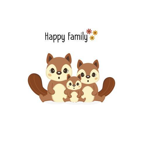 Glückliche Eichhörnchenfamilie mit einem kleinen Eichhörnchen in der Mitte.