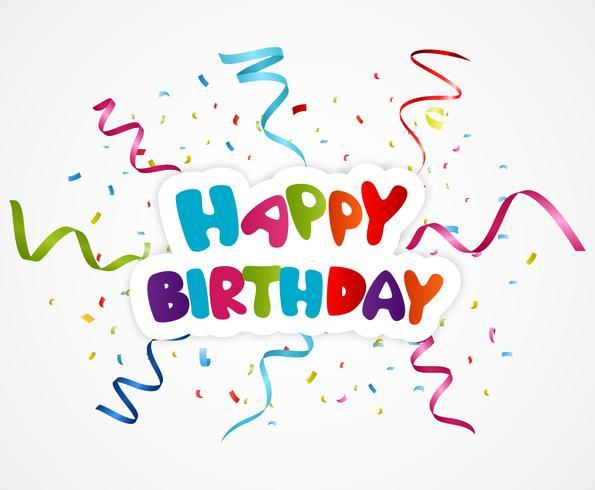 Happy birthday greeting card with ribbon