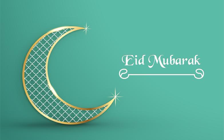 Vorlage für Eid Mubarak mit grünem und goldenem Farbton. Illustration des Vektors 3D im Papierschnitt und Handwerk für islamische Grußkarte, Einladung, Bucheinband, Broschüre, Netzfahne, Anzeige.