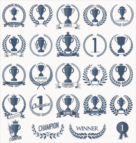 Trophy and awards badges and labels collection vector