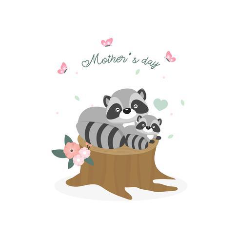 Glückliche Muttertagskarte. Mutterwaschbär, der ihr Baby umarmt.