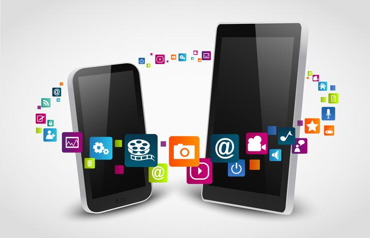 Smartphone apps icon concept background
