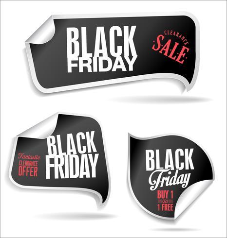 Colección de etiquetas de ventas de viernes negro vector