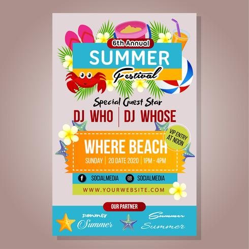 poster summer festival template with beach play vector