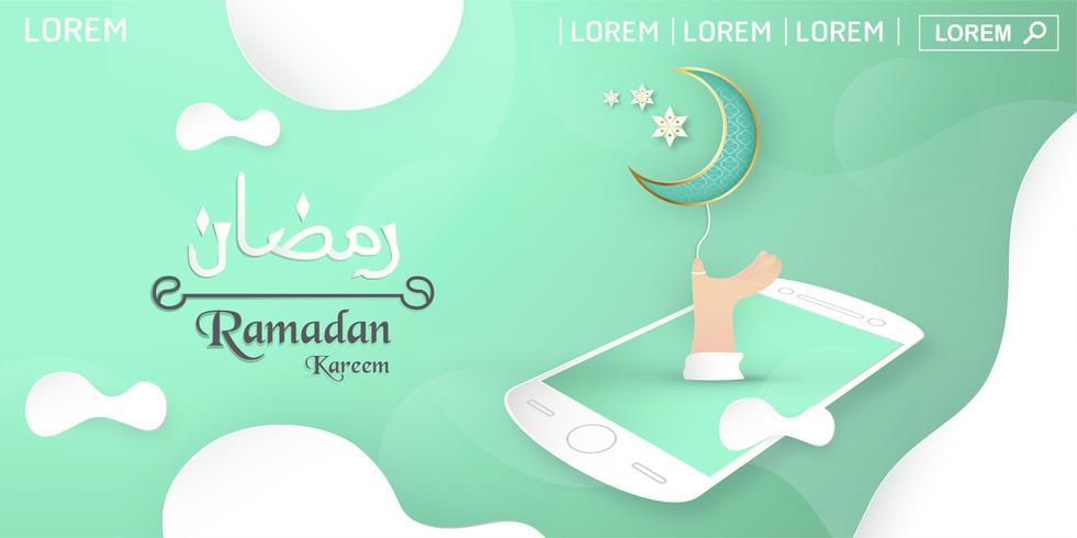 Vorlage für Ramadan Kareem mit grüner und goldener Farbe. Illustrationsdesign des Vektors 3D im Papierschnitt und Handwerk für islamische Grußkarte, Einladung, Bucheinband, Broschüre, Netzfahne, Anzeige.