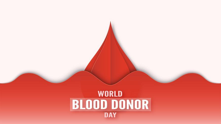 Decoração de elemento para o dia mundial do dador de sangue em 14 de junho. Ilustração do vetor no estilo de corte e artesanato de papel. Este design é para o poster, banner, propaganda.