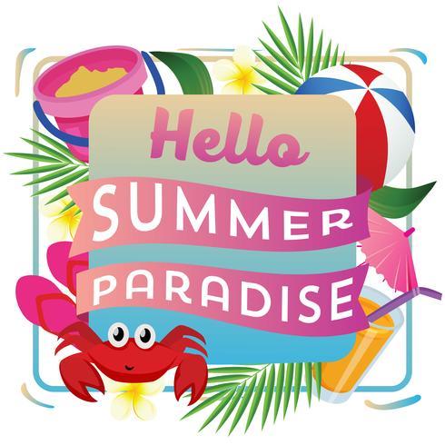 hello summer paradise with beach play vector