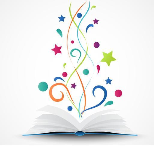 Libro abierto .abstract con estrella colorida y ola