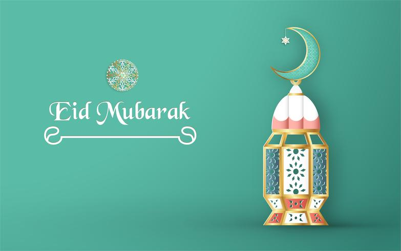 Template for Eid Mubarak with green and gold color tone. 3D Vector illustration in paper cut and craft  for islamic greeting card, invitation, book cover, brochure, web banner, advertisement.