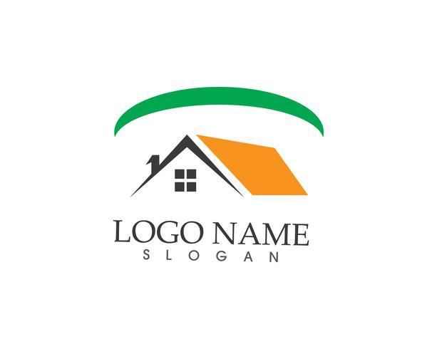 Immobiliare e costruzione casa logo modello vettoriale