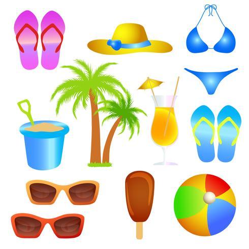 conjunto de objetos de playa de vacaciones de verano