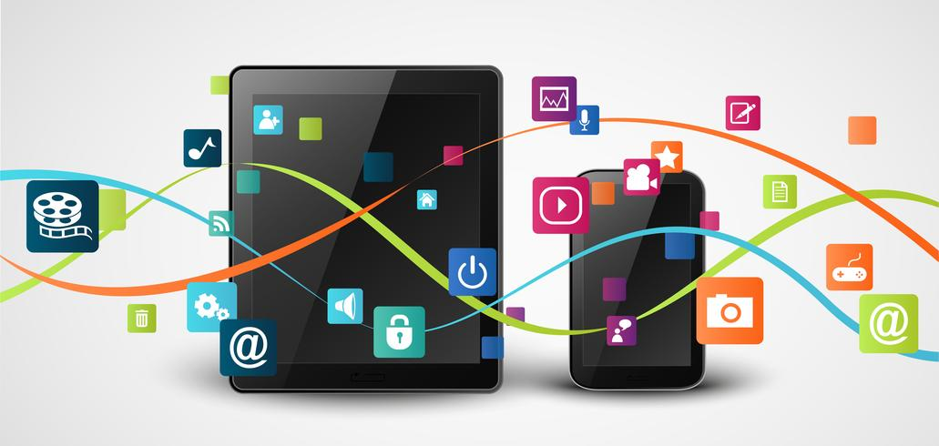 Smartphone apps pictogram concept achtergrond