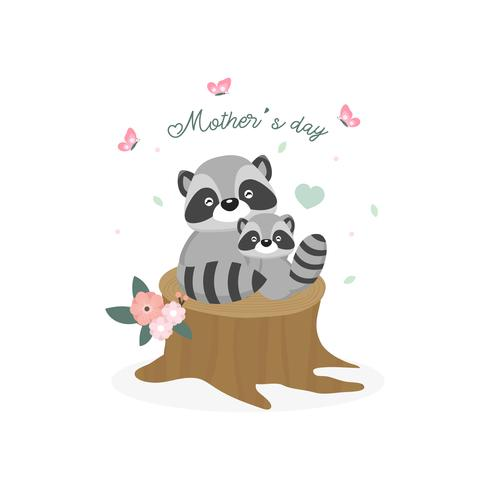 Feliz dia das mães cartão. Guaxinim da mãe que abraça seu bebê.