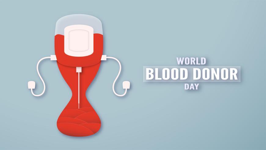 Decorazione degli elementi per la Giornata mondiale del donatore di sangue il 14 giugno. Illustrazione vettoriale in carta tagliata e stile artigianale. Questo design è per poster, banner, pubblicità.