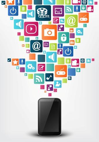 Fondo de concepto de icono de aplicaciones de smartphone