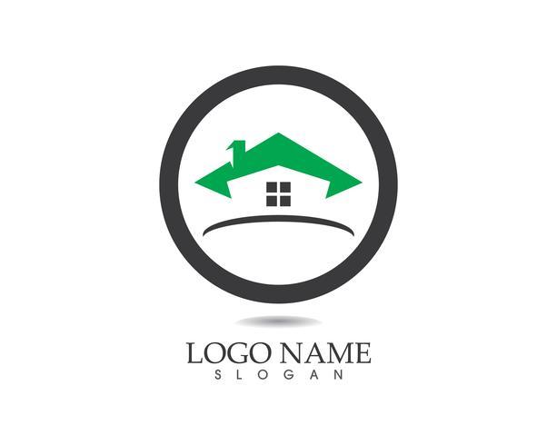 Modèle de vecteur de construction de logo maison