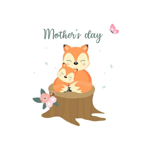 Cute animals for Mother's Day. Foxes mom and baby. vector