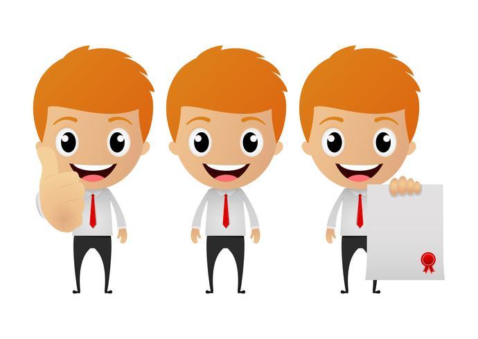 conjunto de empresário engraçado dos desenhos animados