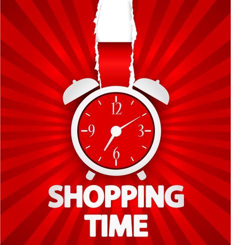 Design de cartaz de compras tempo com despertador