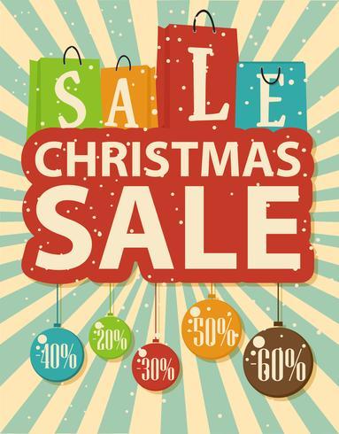 Conception de vente de Noël avec sac à provisions et boules de Noël