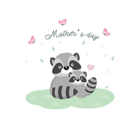 Gelukkige moederdagkaart. Moederwasbeer die haar baby koestert.
