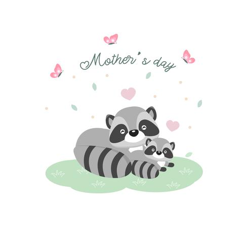Happy Mother's day card. Mother raccoon hugging her baby.