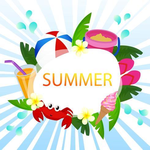 beautiful summer card vector ocean theme with beach play