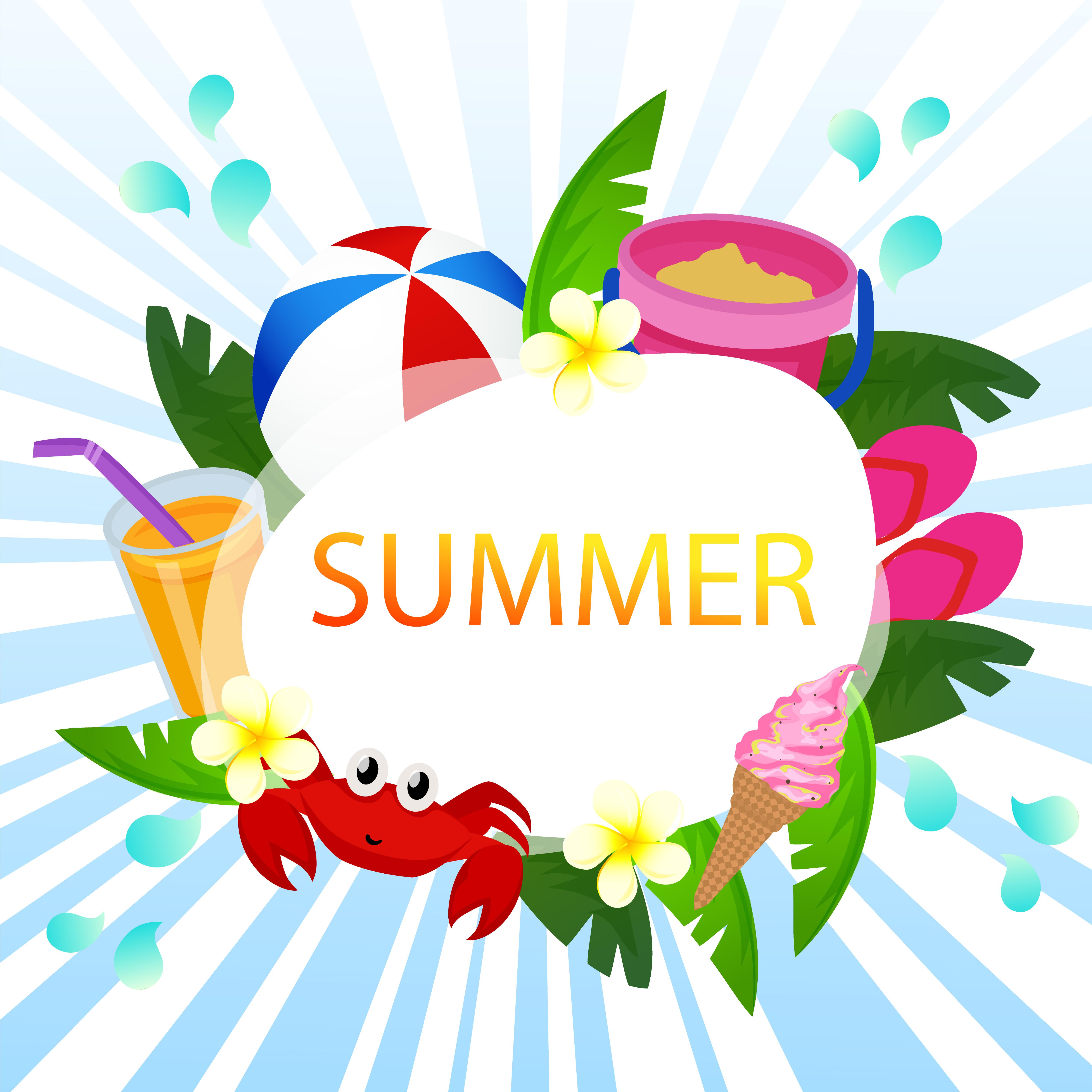 Beach Theme Card Stock: Beautiful Summer Card Vector Ocean Theme With Beach Play