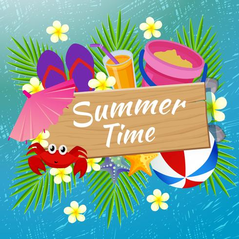 summer time beach fun with scratch background vector