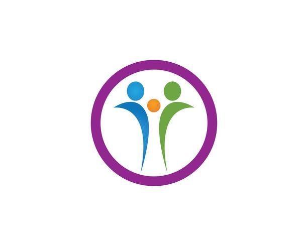 Modèle de vecteur de logo de soins de santé personnes