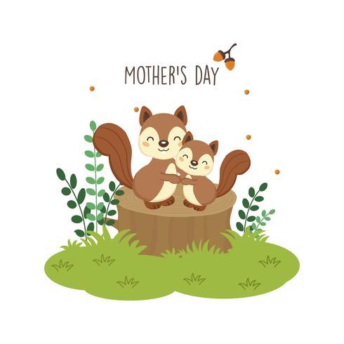Feliz dia das mães cartão. Mãe esquilo abraçando o bebê dela.