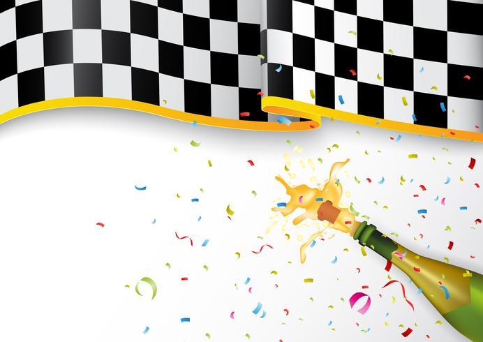 Champion firande med champagne explosion och konfetti
