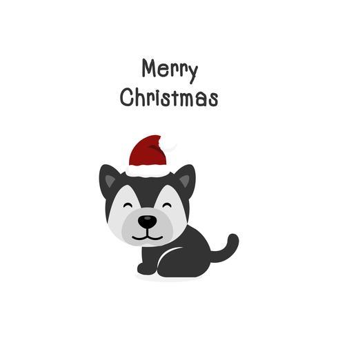 Merry Christmas dog Cartoon hond. Vector illustratie.