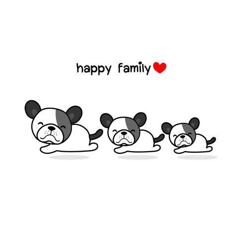 Pai bonito da mãe e cão do bebê. Ilustração animal feliz do vetor dos desenhos animados da família.