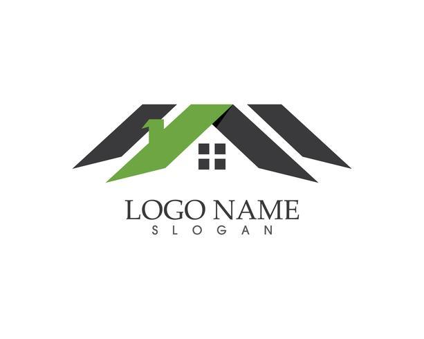 Imobiliário e construção de logotipo em casa vector