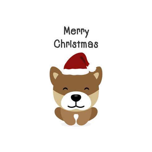 Cão dos desenhos animados do cão do Feliz Natal. Ilustração vetorial