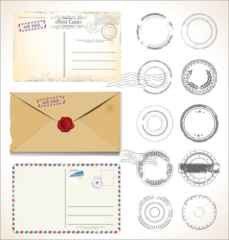 Set of postal stamps and post cards on white background mail post office air mail