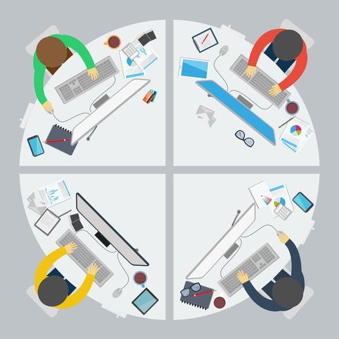 Platte ontwerpstijl van succesvolle samenwerking
