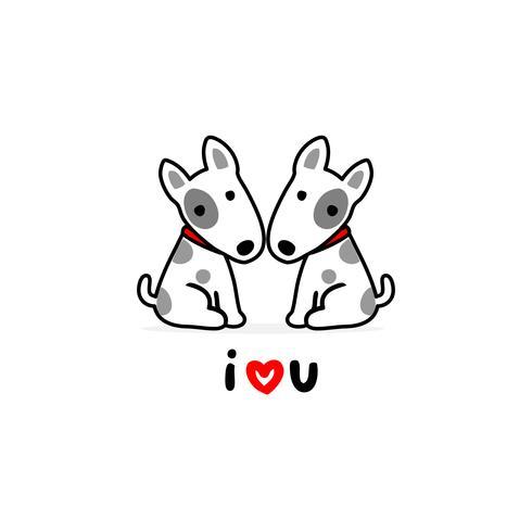 Illustrazione di San Valentino. Coppia terrier cane innamorato.