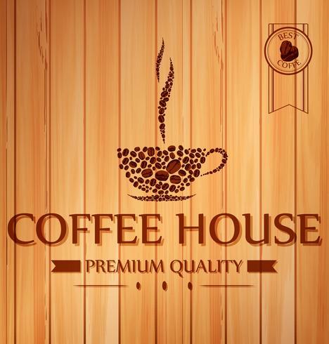Manifesto del caffè dell'annata su fondo di legno