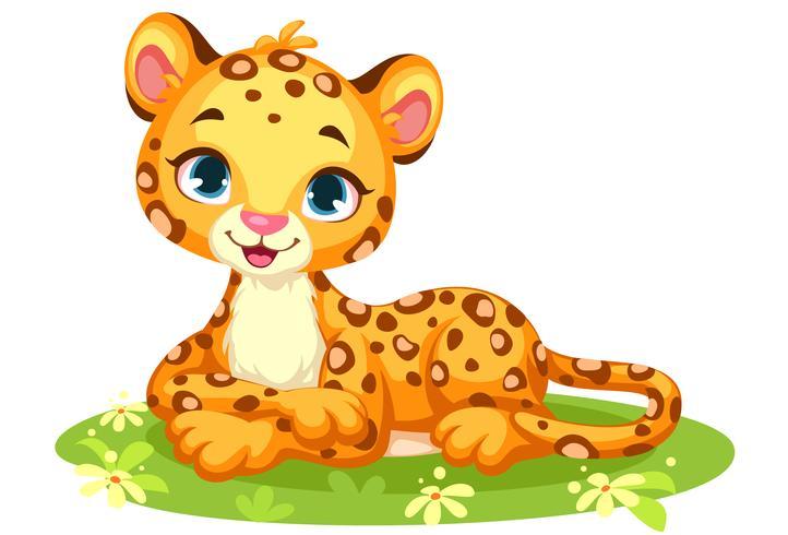 Dibujos animados lindo bebé leopardo vector