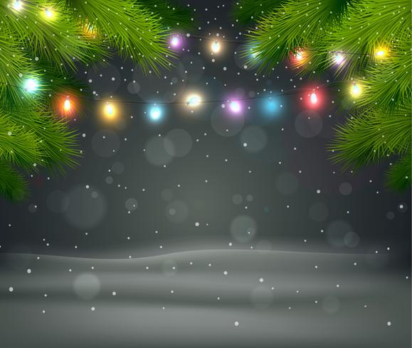 Fondo navideño con arbol y luz.