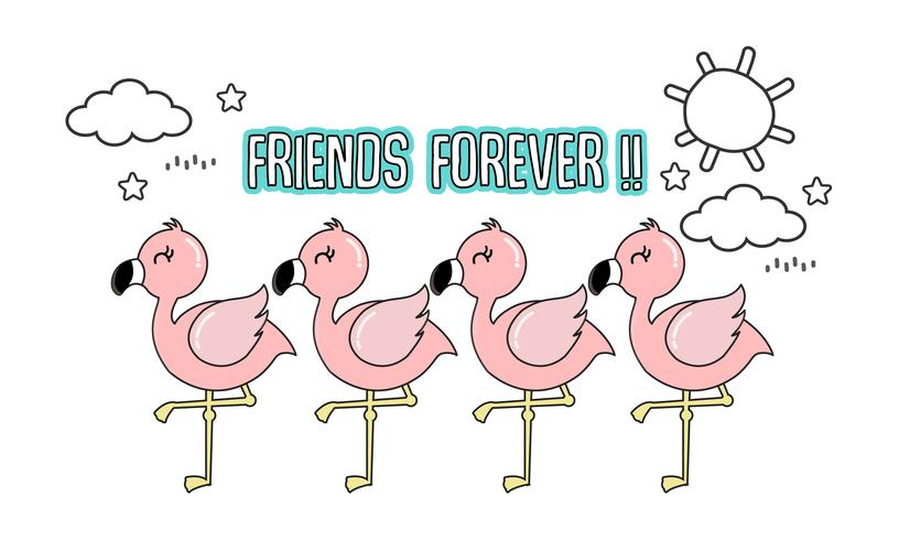 Flamingo rosa bonito com seus amigos.