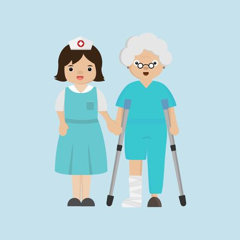 Nurse helping senior patient with a cane.